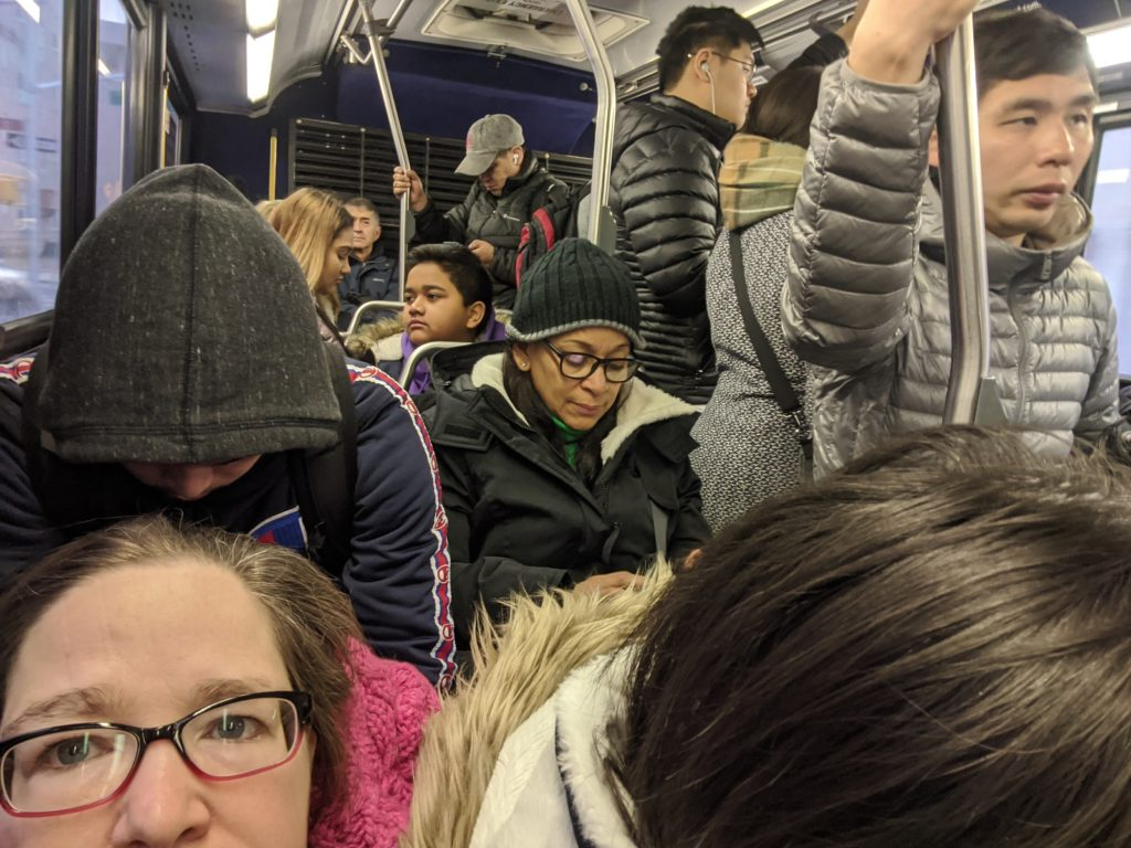 Inside crowded Q49 bus in Jackson Heights NY