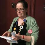 Nuala distributing covid care flyers