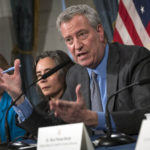 Mayor Bill Deblasio at press conference regarding adult meals