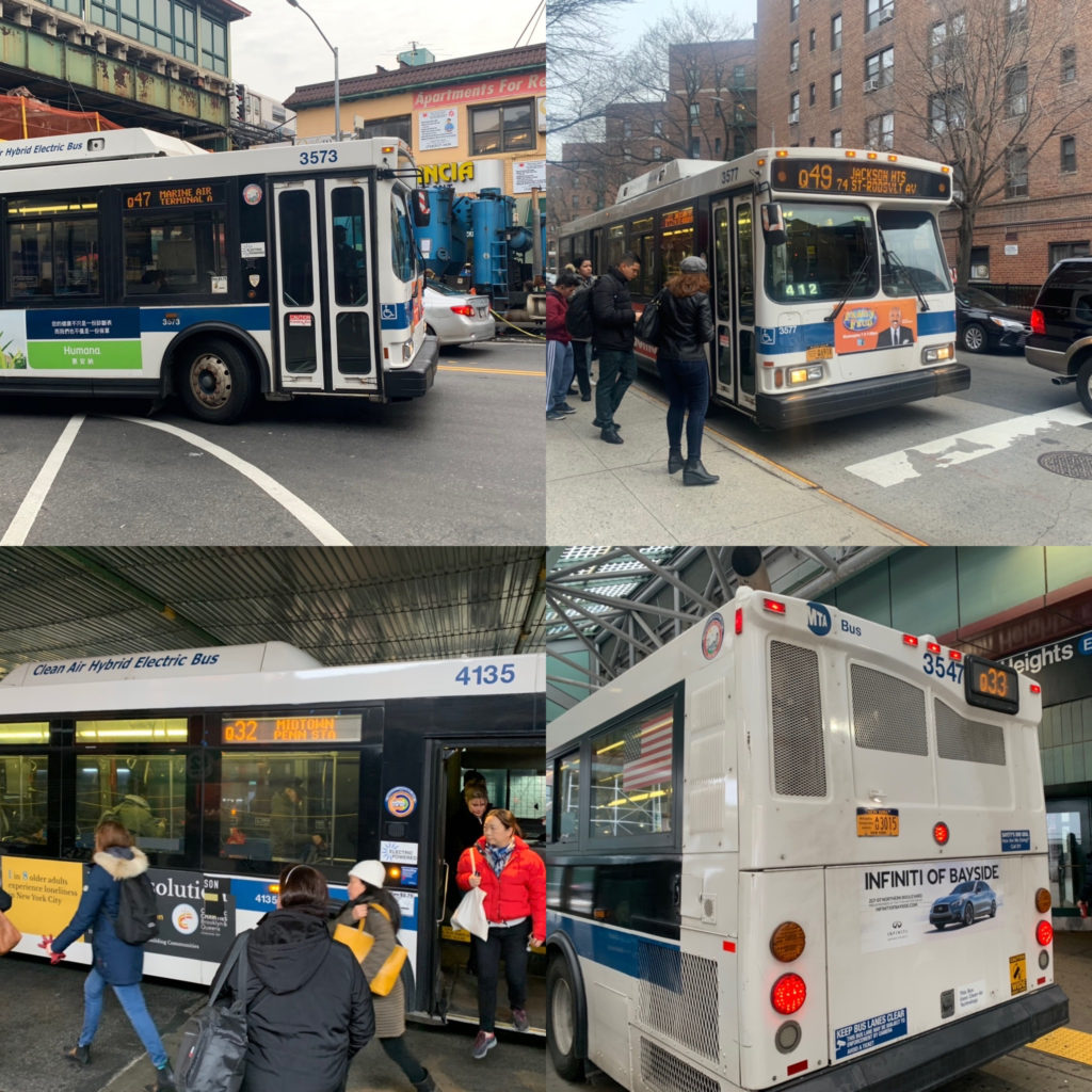 Four pictures of buses and people getting on them or waiting for them